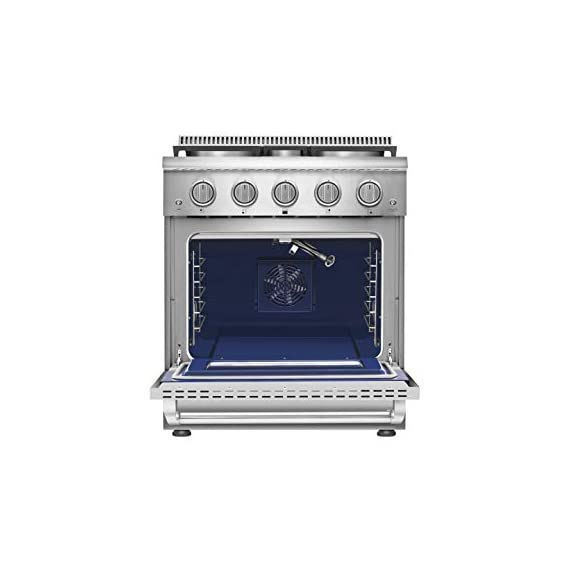 Empava 30 in. 4.2 cu. ft. Pro-Style Slide-In Single Oven Gas Range with 4 Sealed Ultra High-Low Burners-Heavy Duty Continuous Grates in Stainless Steel, 30 Inch, Black 2 The slide-in gas range offers the heavy-duty cast iron grates and 4 versatile burners, two single 18000-BTU burners, one single 12000-BTU burner, a dual ring 15000-BTU burner (650-BTU for simmer) distribute even heat for simmer, boil, stir-frying, steaming, melting or even caramelizing! The deep recessed gas range with an automatic reignition ensures a continuous flame and reignites automatically if accidentally extinguished. The zinc alloy control knobs with a blue LED lights that allows you to see if the cooktop is turn on from a distance. The stainless-steel gas range with a brilliant blue interior, the temperature can be set up from 150°F to 500°F help you to cook perfectly and accurately. It's good for broil, bake, defrosting, dehydration, preheating.
