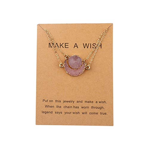 HOLLP Best Friend Jewelry We Go Together Necklace Set Sun Moon Necklace Set Imitation Natural Stone Resin Friendship Necklace Message Card Gift Card for Best Friend Girlfriends (Necklace Set)