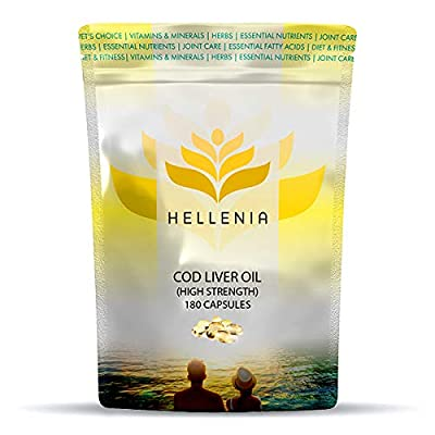 Hellenia Cod Liver Oil High Strength 1000mg - 180 Capsules - One-a-Day For Joint, Skin, Hair and Nail Health from Lifesource Supplements Ltd