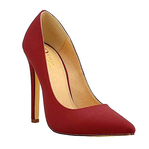 Olivia Jaymes Women's Dress Pump | Pointy Toe | Sculptured Stiletto Heel Pumps (9, Wine Nubuck)