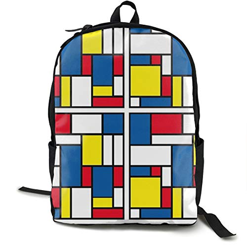 Bankzeri Tribute to Piet Mondrian Backpack Unisex School Daily Backpack Lightweight Casual Travel Outdoor Camping Daypack