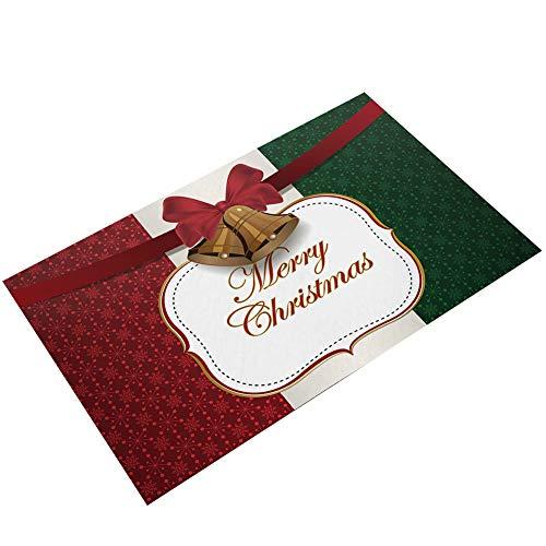 Navidad Imprimir Felpudo Franela Entrada Rug Tapetes de Piso Zapatos raspador Felpudo Antideslizante Entrada Camino de la Estera del Piso de Interior la Cocina Decoración - Gingle Campanas