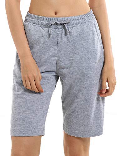 EZRUN Women's Lounge Bermuda Shorts Workout Activewear Jogger Gym Yoga Sweat Shorts with Pockets(Grey,m)