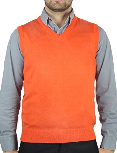 Blue Ocean Solid Color Sweater Vest-X-Large Orange