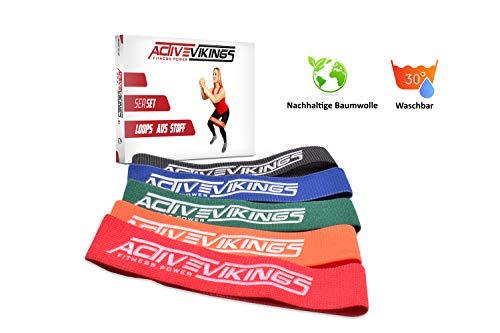 ActiveVikings® Fitnessbänder aus Stoff im 5er Set - Ideal für Muskelaufbau Gymnastik und Crossfit - Fitnessband Widerstandsbänder Sportband (B - 5er Set (Rot Orange Grün Blau Schwarz))