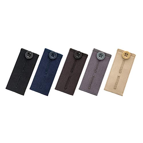 Button Pants Extenders by Johnson & Smith | Pack of 5 Colors | Cotton Material | Adjustable Waist Extender for Pants