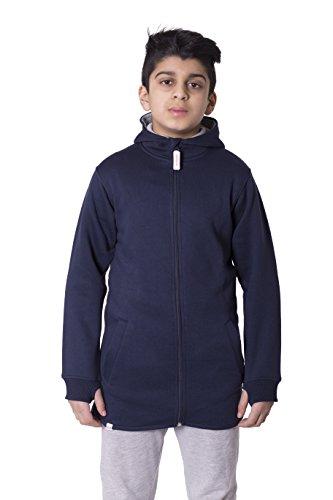 Girls Boys Unisex Plain High Low Long Hoodie Navy 13 Years