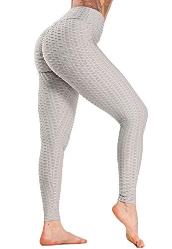 SEASUM Leggins Donna Sportivi Anticellulite Pantaloni Nido d'Ape 3D Leggings Compressione Push up Vita Alta Yoga Pants Elastici Collant Palestra Allenamento, A-Grigio Chiaro XS