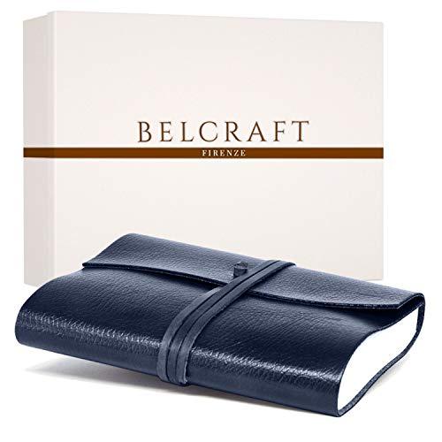 Tivoli A5 Journal Intime / Carnet de Notes en cuir recyclé de fabrication artisanale Italienne, Cadeau Spécial, Journal de Voyage, Notebook A5 (15x21 cm) Bleu