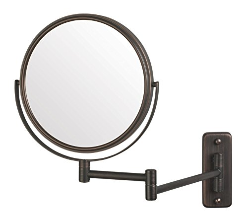 Jerdon JP7506BZ 8-Inch Wall Mount Makeup Mirror with 5x Magnification, Bronze -