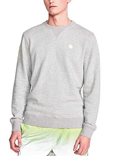 NORTH SAILS Jersey Herren Pullover in Graue Melange - 100% Baumwolle Reguläre Passform mit Besatzung Hals und Lange Ärmel - L