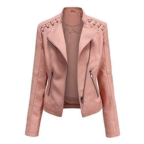 Chaqueta de Cuero PU para Mujer, Chaqueta con Bolsillos con Cremallera, Chaqueta Corta para el Otoño, Primavera Women Leather Jacket(6 Colores),Pink,3XL