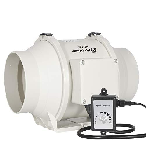 Hon&Guan Extractor de Aire Silencioso 125mm con Controlador de Velocidad Variable - Motor EC 110V-240V Ventilador de Conducto de Ventilación en Línea para Baño, Hidropónicos