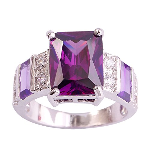 Psiroy 925 Sterling Silver Created Amethyst Filled Wide Band Engagement Ring Size 8