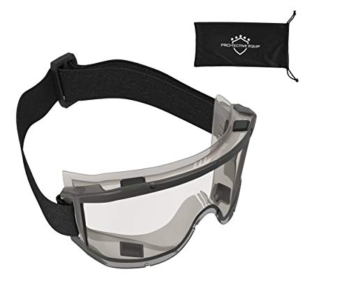 PROTECTIVE EQUIP Safety Goggles Over Glasses Clear Anti Fog Safety Glasses for Eye Protection Chemistry Goggles for Lab Safety Protective Eye Wear Goggles for Eye Safety Multiuse