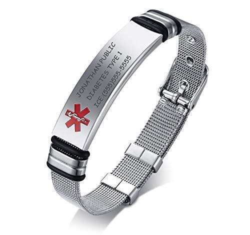 Custom Engraving-Stainless Steel Mesh WristBand Adjustable Medical Alert ID Bracelets for Men Dad