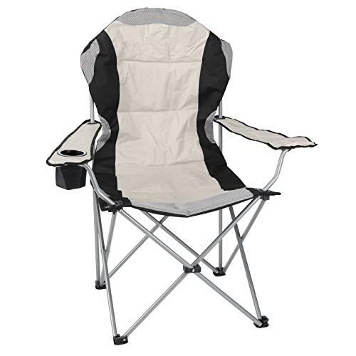 Spetebo Regiestuhl Deluxe bis 150 Kg belastbar - Farbe: beige - Campingstuhl extra breit, extra bequem, extra stabil - Angelstuhl Campingstuhl