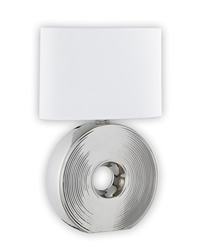 Fischer & Honsel Eye - Lámpara de mesa, color plateado y blanco