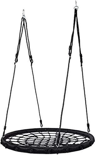 Columpio infantil Telaraña árbol platillo oscilación Netted palmeada Asiento for agarre y comodidad Hanging Tree circular Gimnasio Sistemas y Oscilaciones (Color: Negro, Tamaño: 100 cm), Tamaño: 100 c