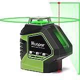 Huepar グリーン レーザー墨出し器 360°横フルライン 鉛直地墨点照射 緑色 レーザー クロスライン 自動水平 高輝度 高精度 ミニ型 【横フルライン1本+出射角140°縦ライン1本+天墨・地墨ポイントタイプ】621CG