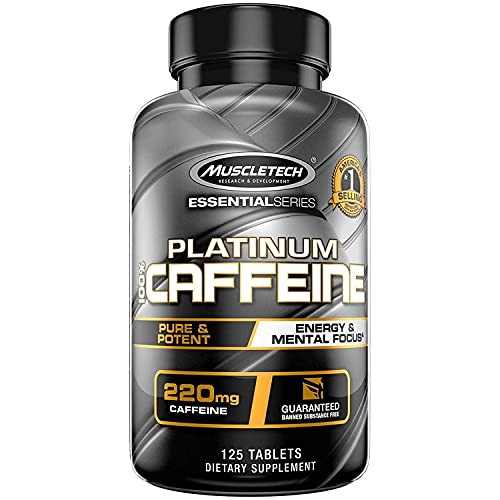 Caffeine Pills   MuscleTech 100% Caffeine Energy Supplements   PreWorkout Mental Focus + Energy Supplement   220mg of Pure Caffeine   Sports Nutrition Endurance & Energy, 125 Count (Package may vary)