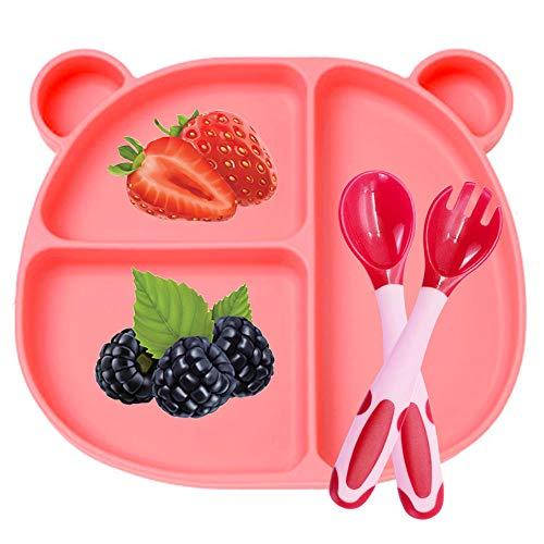 BeiLan Plato de Silicona con Ventosa para Bebe - Plato Infantil Antideslizante con Succion con Cuchara y tenedor, rosa