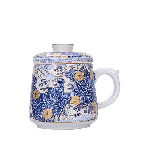 JSJJRGB Taza de Agua Color Creativo de Esmalte de café Taza de café de cerámica Hecha a Mano Taza de té Porcelana con Cubierta y Filtro Ceremonia de té (Color : 1pc Mug)