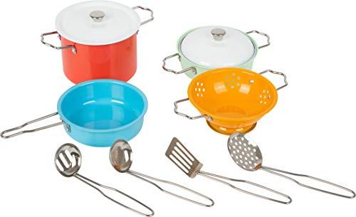 Small Foot 11751 Kochgeschirr-Set Metall, Zubehör für Spielküche, Rollenspielzeug für Kinder ab 3 Jahren Toys