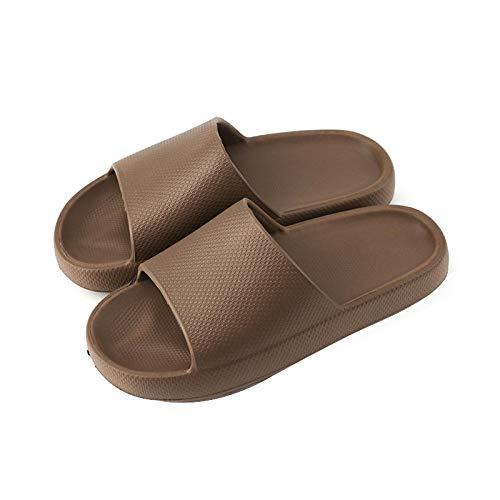 HUSHUI Suela de Espuma Suave Zapatos para Piscinas,Pantuflas Antideslizantes de Suela Blanda, Pantuflas de baño elevadas-Marrón_43-44,Zapatillas de Ducha para Mujeres