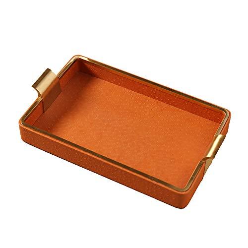 Bandeja de cuero marco de fotos caja de pañuelos joyero, plato rectangular...