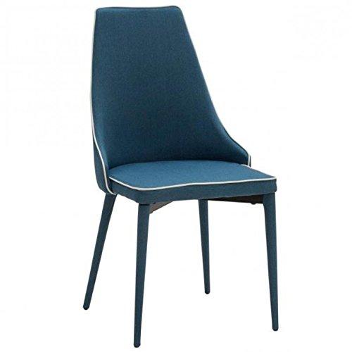 Legno&Design Chaise design moderne rembourrée en tissu bordure blanche de couleur bleue.