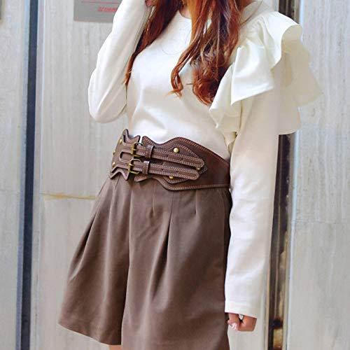 ZEHZPPNBD Cinturón Ancho elástico de la Cabeza de la Cabeza de la Cabeza de la Cabeza de Doble alfiler, Faja de Abrigo de Mujer Color marrón (Tamaño : 86cm)