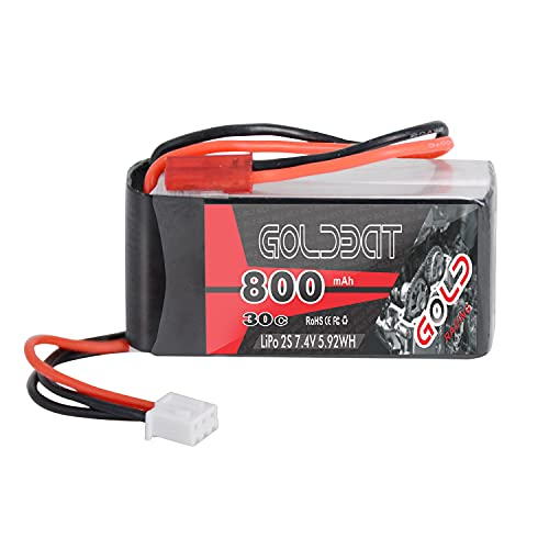 GOLDBAT RC Batterie 800 mAh 7.4 V 2S 30C LiPo Akku Pack mit JST-SYP Stecker für RC Auto Boot LKW Heli Flugzeug usw. RC Hobby