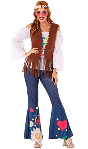 Atosa-60004 Atosa-60004-Disfraz Hippie-Adulto Mujer, Color marrón, XS a S (60004 , color/modelo surtido
