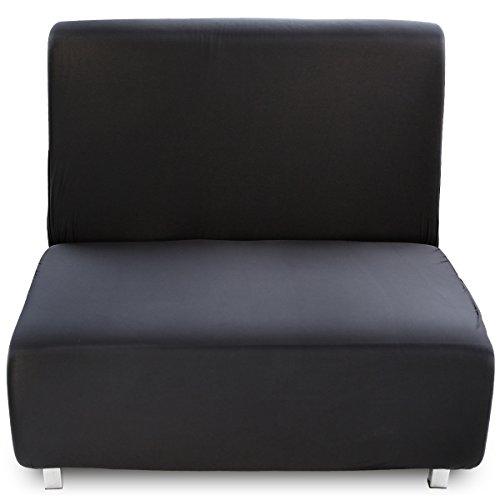 Anladia 1 Sitzer Sofa Husse Sofahusse Schwarz Sofabezüge Sofabezug elastisch Sesselbezug Sesselhusse Sesselüberwurf Möbelschutz Sofaschoner Stretchhusse Universal