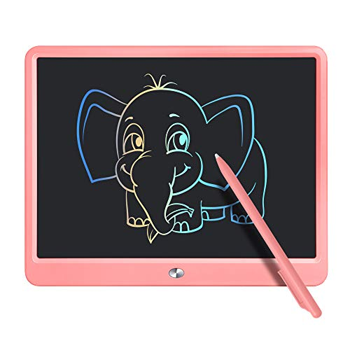 LCD Writing Tablet,15 Inch Colorful Screen Digital eWriter Electronic Graphics Tablet Portable Writing Board Handwriting Doodle Drawing Pad Early Learning Toy for Toddlers Girls Boys Gift (Pink)