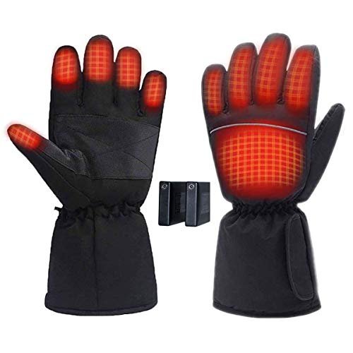 KEMOO Beheizte Handschuhe, wasserdichte Thermo-Heizhandschuhe für Herren/Damen, Touchscreen-warme Handschuhe für Outdoor-Sport, Radfahren, Motorrad, Wandern, Skifahren, Bergsteigen (schwarz)