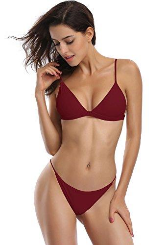 SHEKINI Damen Bikini Set Mit Triangel Einstellbare Keine Brustpolster Oberteil Und Sexy Bikinihosen Bottom(Small, Weinrot)