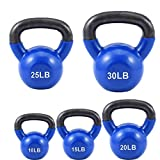 loinrodi Iron Kettlebells Vinyl Coated Kettlebells Sets 10, 15, 20, 25, 30 lbs for Weightlifting, Conditioning, Strength and Core Training, Blue (25 LB)