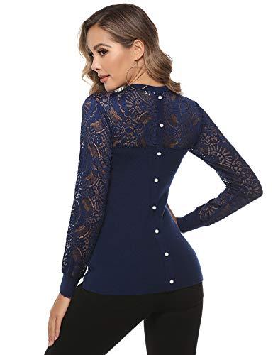 Hawiton Damen Pullover Rundhalspullover mit Spitze und Zierknöpfen Elegant Spitzenpullover Langarmtops, Navy Blau, S
