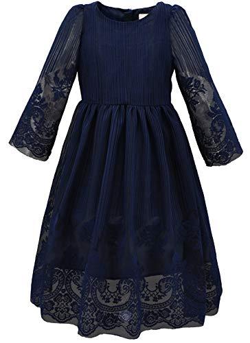 BONNY BILLY Mädchen Kleider Vintage Spitze Tüll Hochzeit Festlich Party Langarm Herbst Winter Kleid 10-11 Jahre/140-146 Blau