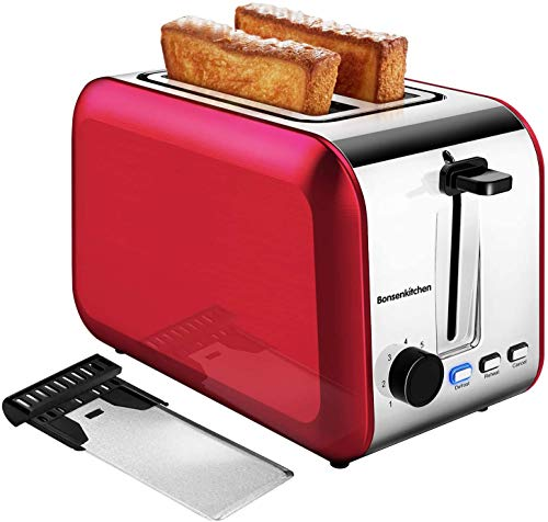 2 Slice Red Toasters, Bonsenkitchen Stainless Steel Wide Slot Bread Toaster with Defrost/Reheat/Cancel Function, 7 Brown Setting, Removable Crumb...