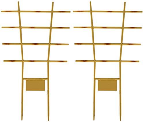 Novatool 2X Pflanzengitter Bambus I 44 x 24 cm I Kunststoff I Braun I Blumengitter Blumenkasten Rankgitter Balkon Rankhilfe Gitterspalier Spailer