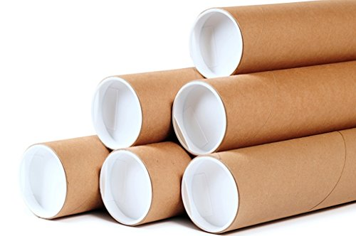 Premium Kraft Cardboard Mailing Tubes - 2' x 20' - 2' Opening Diameter 20' in Length - Case of 50 Shipping Tubes with White End Caps (2x20) for Mailing and Storing Posters, Drawings