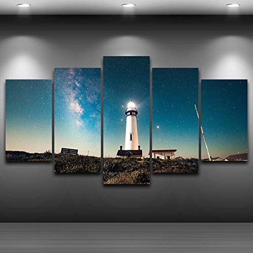 LIUWW Decoración Moderna para el hogar, Lienzo, Sala de Estar, 5 Paneles, Faro, Cielo Estrellado, Marco, Pintura, Arte de Pared, Cartel Modular