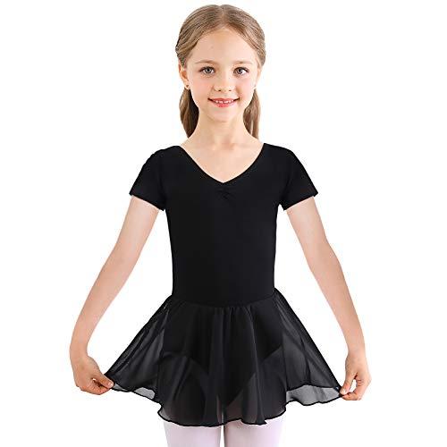 Bezioner Vestido de Ballet Maillot de Danza Gimnasia Leotardo Algodón Body Clásico para Niña Negro 130
