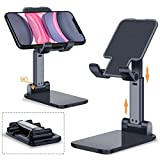 Adjustable Cell Phone Stand, Foldable Portable Desktop Table Stand Phone Holder,Angle Height Adjustable Phone Stand Holder for Desk Compatible with All Mobile Phone/iPad/Kindle/Tablet(Black)