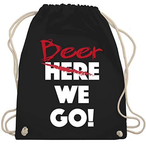 Sprüche - Beer we go - Unisize - Schwarz - gym bag spruch - WM110 - Turnbeutel und Stoffbeutel aus Baumwolle