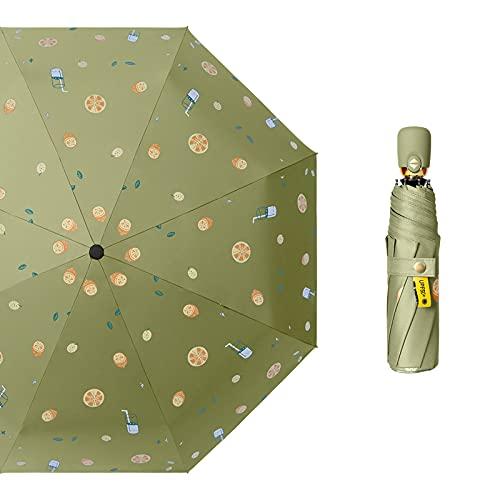 Xiaojie Paraguas automático femenino súper llamativo sol de dos usos (color de té plaic)
