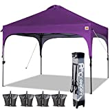 ABCCANOPY Canopy Tent 10x10 Pop Up Canopy Outdoor Canopies Portable Tent Popup Beach Canopy Shade Canopy Tent with Wheeled Carry Bag Bonus 4 Weight Bags, 4 x Ropes& 4 x Stakes, Purple